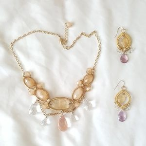 LOFT Stone Gold and Gem Statement Necklace